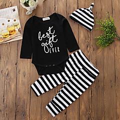 billige Babytøj-Baby Pige Hat / Et Stykke / Afslappet Stribe Lang Pant Bomuld Tøjsæt / Strikketøj / Euro-Amerikansk