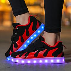 Para Meninas Sapatos Arrastão / Tecido Outono Conforto / Tênis com LED Tênis Velcro / LED para Rosa e Branco / Branco / Preto / Preto /