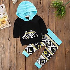 billige Tøjsæt til piger-Baby Pige Blomster / Pænt tøj Ensfarvet / Blomstret / Geometrisk Langærmet Normal Normal Bomuld / Polyester Tøjsæt Sort