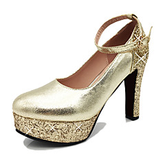 Women's Shoes PU Spring Summer Fall Heels Chunky Heel Round Toe Crystal Sequin Buckle For Wedding Casual Party & Evening Gold Silver