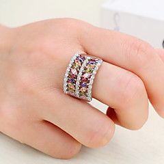 Heren Dames Knokkelring Verlovingsring Kubieke Zirkonia Zirkonia Koper Geometrische vorm Sieraden Voor Bruiloft Feest Verjaardag Verloving