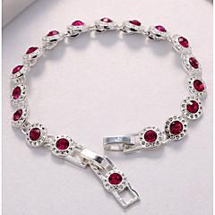 billige -Dame Kæde & Lænkearmbånd Kvadratisk Zirconium Kvadratisk Zirconium Sølvbelagt Cirkelformet Smykker Til Bryllup Fest
