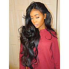 cheap Wigs & Hair Pieces-Human Hair Lace Front Wig Brazilian Hair Wavy Body Wave Natural Wave Natural Black Wig Middle Part 130% Density with Baby Hair Unprocessed Natural Black Women's Short Medium Length Long Human Hair