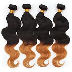 お買い得  グラデーションカラー・ヘアエクステンション-ペルービアンヘア ウェーブ オンブル' 4バンドル 人間の髪織り ブラック / ミディアムオーバーン 人間の髪の拡張機能