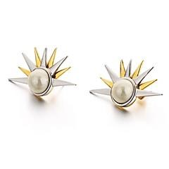 billige Fine smykker-Dame Kvadratisk Zirconium Zirkonium / Guldbelagt Stangøreringe - Vintage / Mode Guld / Sort Cirkelformet / Geometrisk form Øreringe Til