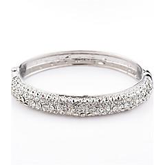 billige -Dame Rhinsten Krystal Manchetarmbånd - Mode Geometrisk form Sølv Armbånd Til Daglig Afslappet