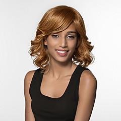 billige Lågløs-Human Hair Capless Parykker Menneskehår Løst, bølget hår Medium Maskinproduceret Paryk Dame