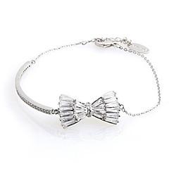 hesapli Bilezikler-Kadın's Kübik Zirconia Zirkon Gümüş Kaplama Bowknot Shape Zincir & Halka Bileklikler - Basit Moda Sevimli Bowknot Shape Gümüş Bilezikler