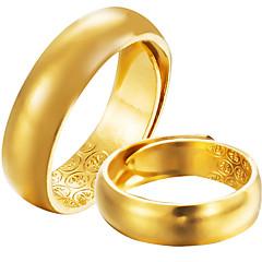 זול טבעות-בגדי ריקוד גברים בגדי ריקוד נשים טבעות רצועה רשמי פשוט קלסי אלגנטי ציפוי זהב תכשיטים עבור חתונה Party ארוסים טקס מסיבת ערב