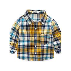 baratos Roupas de Meninos-Para Meninos Camisa Outono Algodão Manga Longa Amarelo
