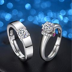 Χαμηλού Κόστους Δαχτυλίδια-Ανδρικά / Γυναικεία Cubic Zirconia Δαχτυλίδι αρραβώνων / Σετ δαχτυλιδιών - Cubic Zirconia, Ασημί Ρυθμιζόμενο Ασημί Για Γάμου / Βραδινό Πάρτυ / 2pcs