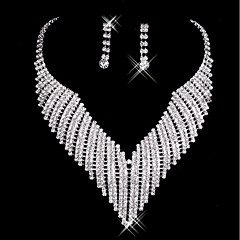Women's Drop Earrings Necklace Wedding Party Rhinestone Alloy
