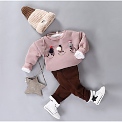 billige Undertøj og sokker til piger-Baby Pige Tegneserie Ensfarvet Langærmet Bomuld Nattøj