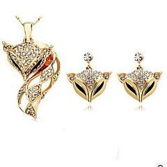 baratos Conjuntos de Bijuteria-Mulheres Conjunto de jóias - Imitações de Diamante Raposa, Animal Incluir Brincos Compridos / Colar Dourado / Prata Para Diário