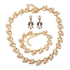 baratos Conjuntos de Bijuteria-Mulheres Conjunto de jóias - Imitação de Pérola Formato de Folha Fashion, Elegante Incluir Dourado Para Casamento / Festa / Brincos