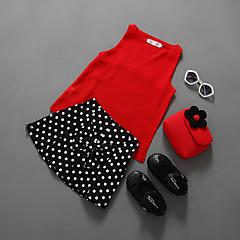 billige Tøjsæt til piger-Pige Tøjsæt Ensfarvet Prikker, Bomuld Polyester Sommer Uden ærmer Afslappet Rød