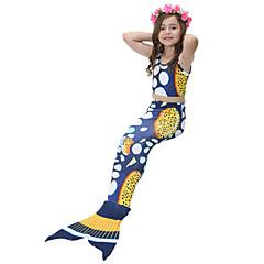 baratos Roupas de Meninas-Infantil Para Meninas Activo Esportes Estampado Côr Misturada Sem Manga Algodão / Poliéster Roupa de Banho Azul 110 / Fofo