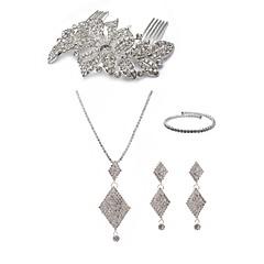 cheap Jewelry Sets-Women's Rhinestone Imitation Diamond Jewelry Set Body Jewelry 1 Necklace Earrings - Fashion European Geometric White Hair Combs Bridal