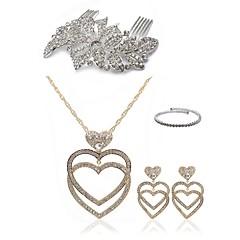 cheap Jewelry Sets-Women's Rhinestone Imitation Diamond Heart Jewelry Set Body Jewelry 1 Necklace Earrings - Fashion European Heart Gold White Hair Combs