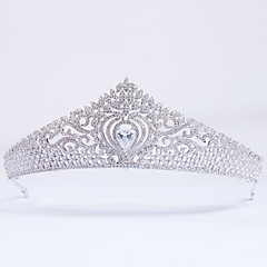 cheap Party Headpieces-Cubic Zirconia copper Tiaras with N/A 1pc Wedding Special Occasion Headpiece