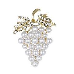 billige Motebrosjer-Dame Nåler Rhinstein Imitert Perle Frukt Smuk Imitert Perle Fuskediamant Legering Drue Gull Smykker Til Daglig