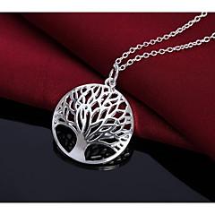 baratos -Homens Mulheres Árvore da Vida Simples Fashion Colares com Pendentes , Prata Chapeada Colares com Pendentes , Aniversário Diário
