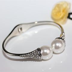 お買い得  ファッションブレスレット-女性用 カフブレスレット 人造真珠 ラインストーン シンプル 欧風 ファッション 合金 ジュエリー 結婚式 パーティー