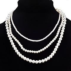 abordables Collares-Mujer Collares en capas  -  Perla Artificial Moda Blanco Gargantillas Para Ceremonia, Fiesta de baile