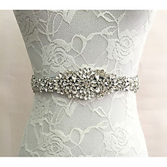 cheap Party Sashes-Silk Like Satin Wedding Special Occasion Sash With Rhinestone Women's Sashes