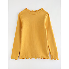 billige Pigetoppe-Pige T-shirt Ensfarvet, Bomuld Efterår Tegneserie Blå Grøn Lilla Gul