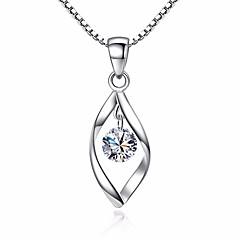 Damen Blattform Synthetischer Diamant Zirkon Anhängerketten - Retro Modisch Blattform Silber Modische Halsketten Für Alltag Festtage