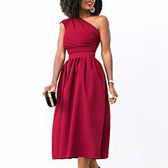 Damen Hülle Swing Kleid - Gerüscht, Solide Ein-Schulter Hohe Taillenlinie