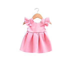 billige Babytøj-Baby Pigens Kjole Daglig Ensfarvet, Bomuld Hør Bambus Fiber Akryl Forår Langærmet Simple Vintage Blå Lyserød