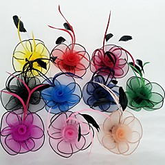 cheap Party Headpieces-Feather Net Fascinators Flowers with Floral 1pc Wedding Special Occasion Headpiece