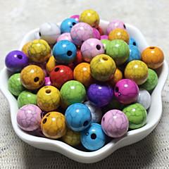 billige Perler og smykkemaking-DIY Smykker 100 Perler Regnbue Rund Akryl Perlene 1 cm DIY Armbånd Halskjeder