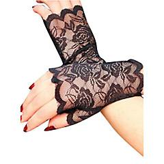 Damen Party, Spitze Handgelenk-Länge Fingerlos Handschuhe