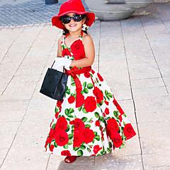 baratos Roupas de Meninas-Menina de Vestido Aniversário Diário Floral Todas as Estações Algodão Sem Manga Fofo Princesa Vermelho
