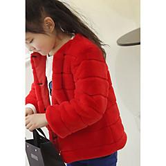 billige Pigetoppe-Pige Bluse Ensfarvet, Akryl Vinter Langærmet Simple Brun Hvid Sort Rød Lyserød