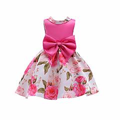 baratos Roupas de Meninas-Menina de Vestido Natal Aniversário Floral Estampa Colorida Verão Algodão Sem Manga Fofo Casual Vermelho Fúcsia