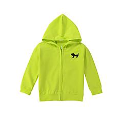 billige Pigetoppe-Unisex Bluse Ensfarvet Dyretryk, Bomuld Forår Langærmet Lysegrøn Lyseblå Marineblå