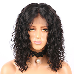 cheap Beauty & Hair-Human Hair Glueless Lace Front Lace Front Wig Brazilian Hair Curly Water Wave Wig Bob Short Bob Middle Part 130% Density with Baby Hair Natural Hairline Glueless Pre-Plucked Women's Human Hair Lace