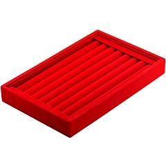 billige Smykkeemballage og displays-Smykkeskrin Manchetknapper Box Kvadrat Linned Sort Hvid Rød Candy pink Mørkegrå Hård Læder