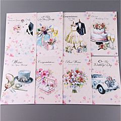 cheap Wedding Invitations-Side Fold Wedding Invitations 8 pack-Invitation Cards Classic Style Bride & Groom Style Floral Style Embossed Paper Flowers