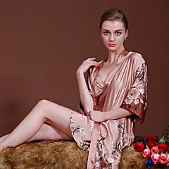 billige Moteundertøy-Dame Dress Sateng og silke Pyjamas-Blomstret,Elegant