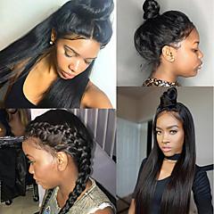 billiga Peruker och hårförlängning-Äkta hår Spetsfront Peruk Brasilianskt hår Rak 130% Densitet 100% Jungfru Dam Mellan Äkta peruker med hätta