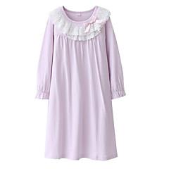 baratos Roupas de Meninas-Menina de Vestido Sólido Manga Longa Moda de Rua Rosa Azul Claro Lavanda
