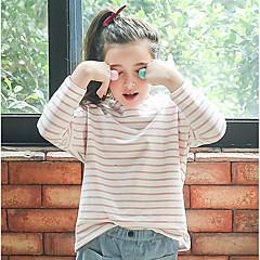baratos Roupas de Meninas-Infantil Para Meninas Vintage Listrado Manga Longa Padrão Algodão Camiseta Rosa 140