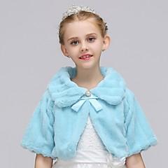 billige Pigetoppe-Baby Pige Simple / Vintage Ensfarvet Langærmet Normal Rayon / Polyester Bluse Hvid 110