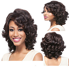 cheap Synthetic Lace Wigs-Synthetic Wig Curly / Deep Wave Synthetic Hair Natural Hairline Brown Wig Capless