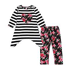 billige Tøjsæt til piger-Pige Tøjsæt Daglig I-byen-tøj Stribet Blomstret, Bomuld Forår Efterår Langærmet Afslappet Aktiv Hvid